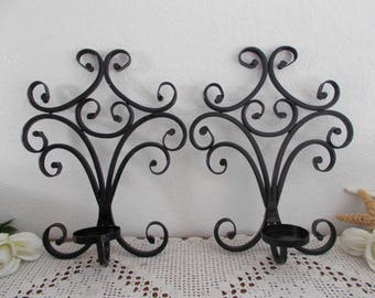 Black Sconce Candle Holder Set Ornate Scrolled Wall Hanging Pair Paris Apartment French Country Home Decor Stylized Fleur de lis Design Gift