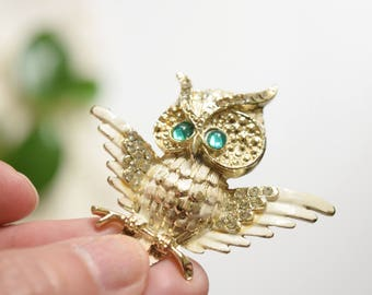"Vintage Owl Brooch, Gold Tone Metal, Green Rhinestone Eyes, White Wings, Open Wings, 2"" x 2"" Collectible"