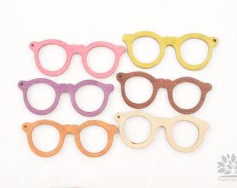W100-02// Big Wooden Glasses Pendant, 1piece