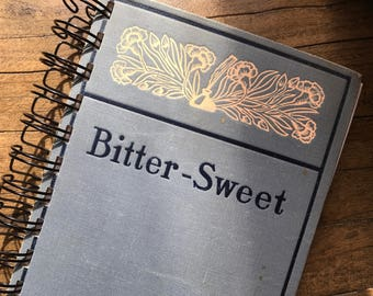 "Journal, Vintage Book, ""Bitter Sweet"", Spiral Bound Journal, Old Book Journal, Gray Blue Journal, Writing Journal, Drawing Journal"