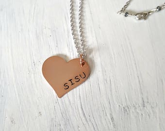 SISU Finnish Heritage Grit Tenacity Perseverance Hand Stamped Copper Heart Necklace Unisex