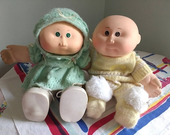 Two Vintage Cabbage Patch Kid Dolls 1986 Babies Bean Butt Weighted No Pox