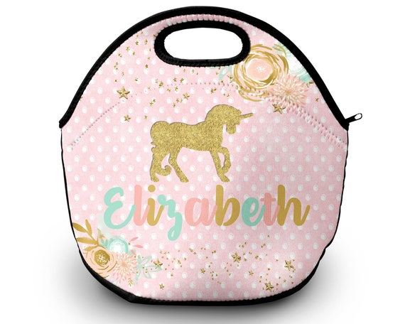 Unicorn Personalized Lunch Tote - Unicorn Lunch Bag, Neoprene Lunch Tote Bag - Kids Personalized Gift