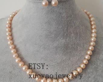 pearl set- Genuine cultured AAA 8-8.5 mm pink flat pearl necklace & earrings set