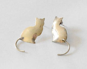 SALE Vintage Sterling Silver Articulate Tail Cat Silhouette Pierced Post Earrings