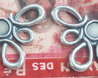 One pair of wide squiggly earring components with bezel, Sterling Silver Finish