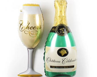 Champagne Bottle or Glass Balloon for Engagement Party, Bachelorette Party, Air-fill only!