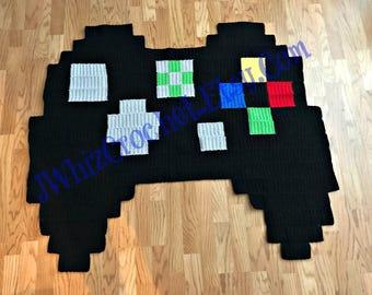 Crochet XBox Controller blanket, X-box Controller Rug, Pixel Blanket, Gamer Room Decor