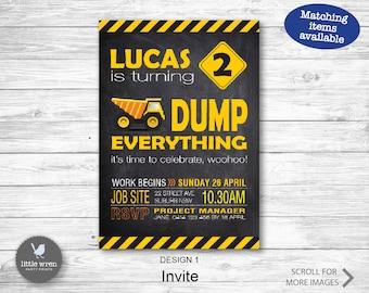 Construction Party Invitation, Dump truck, Construction Party, Construction birthday, digger, Construction Invite, Truck Invitation