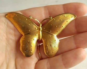 Vintage Butterfly brooch pin gold tone
