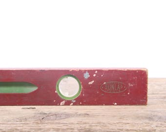 """Antique 28"""" Wooden Level / Red and Green Dunlap Level / Old Carpentry Tool / Rustic Woodworking / Industrial Antique Wood Tool"""