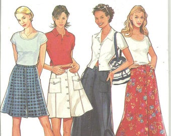 Style Pattern 2698 Misses Skirt Two Lengths Button Front (8-18) UNCUT