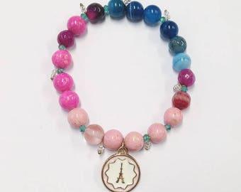 Elastic Beaded Bracelet, Beaded Bracelet, Friendship Bracelet, Stacking Bracelet, Pink and Blue Bracelet, Gift, Present