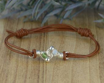 Any Two Birthstones Leather Adjustable Bracelet- Sterling Silver Filled Wire Wrapped Personalized Bracelet- Brown or Black Leather