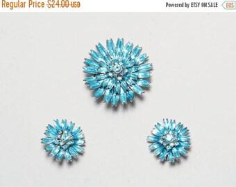 SALE Pendant Brooch. Clip On Earrings. 1960s Jewelry Set. Aurora Borealis Rhinestone Jewelry. Blue Costume Jewelry. Flower Earrings. Demi-Pa