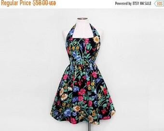MOVING SALE Floral Halter Dress. Open Back Dress. 50s Style Dress. Vintage Cocktail Dress. Swing Dress. Rockabilly Dress. Full Skirt. Large.