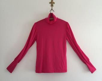 Vintage 80's Hot Pink Turtleneck Blouse XS S