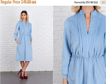 Sale Vintage 70s Blue Mod Dress A Line Midi Long Sleeve velour velvet Small S 8552