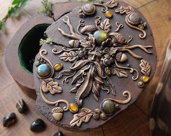 GreenMan Cernunnos OOAK sclupture Crystal stones log tresure keepsake box