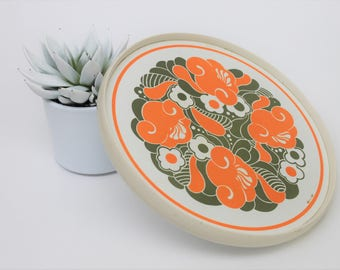 Orange and Green Psychedelic Melamine Round Tray