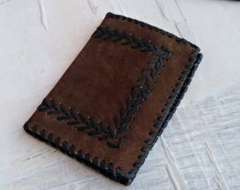 Vintage Leather Wallet Textured, Men Women Slim Wallet Rustic, Southwestern Credit Card Holder, Dark Brown Suede Wallet with Zippers