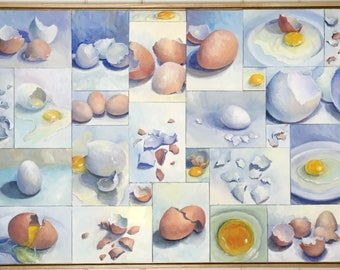 Large Still Life Oil Painting Eggs Multi-Canvas Framed Art