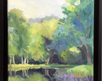 Quiet Afternoon Framed Original Landscape Oil Painting on Canvas Plein Air