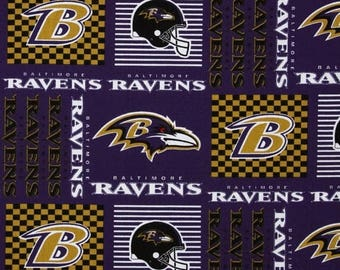 "SUMMER SALE End of Bolt- 12"" X 58"" - NFL - Baltimore Ravens Cotton Fabric from Fabric Traditions"