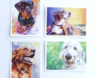 Set of Eight 5x7 Dog Notecards with Matching Stickers and Envelopes