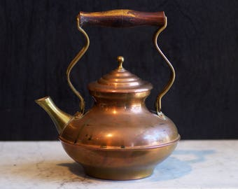 Vintage Copper Teapot - Rustic Tea Kettle