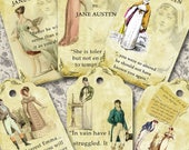 """Jane Austen """"It will work out in the end"""": 6 tag/label designs digital collage sheet. DIGITAL DOWNLOAD"""