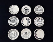 U.S. Shipping Included! Tiny Black and White Witch Altar Trinket Ring Dishes Moon Eye Sun Lunar