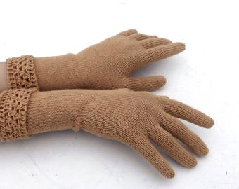 Gloves, knitted fingered gloves, knit gloves with fingers, light brown gloves, knitting wool gloves, winter gloves, hand warmers