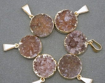 15% off Xmas in July Round Brown Druzy Cluster Pendant with 24k Gold Electroplated Edges-- Round Pendant CRD(S48b12-02)