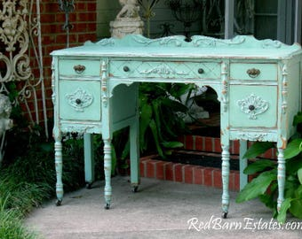 ANTIQUE DESK Custom Refinished To Order! Hand Painted Reclaimed Restored Wood Shabby Chic Painted Lady's Desk