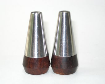 A&B Lundtofte Denmark Salt Pepper Shaker Pair - Rosewood and Stainless Steel Danish Modern (2 Sets Available)