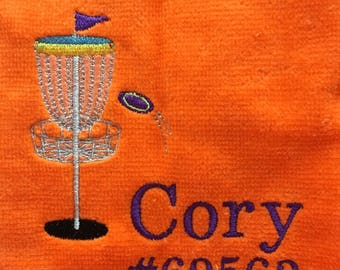 Personalized disc golf towel, great Christmas disc golf gift, team towels, disc golf gift