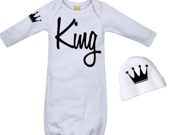 Baby Boys Take Home Outfit Cool Baby Boys Clothes Newborn Boy Comming Home King Black and White King's Crown