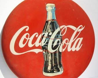 20% Summer SALE Vintage Coca Cola Reproduction Button Round Tin Metal Sign...Americana, Garage Art, Rustic Decor COKE