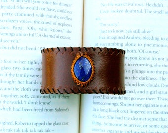 Leather Cuff - Lapis Lazuli Stone - Stone of Wisdom and Truth