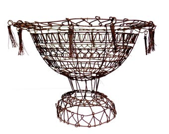 antique French Wire Tasseled Compote, Rare form French Wire Work, French Antiques, Antique French Country, Antique Folk Art