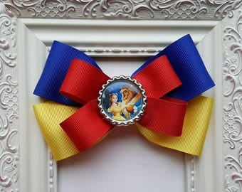 Beauty & the Beast - Disney Princess - Beast and Bell Inspired Boutique Hair Bow - Cute Gift Idea or Disney Party Favor