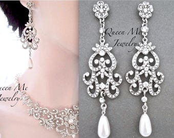 Pearl earrings, Long pearl drop earrings, Swarovski pearl earrings, Vintage style wedding earrings, Art deco pearl earrings, ALEXIS