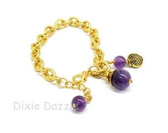 Amethyst gemstone bracelet, gold charm bracelet, purple jewelry, February birthstone, amethyst and gold chain bracelet, amethyst jewelry