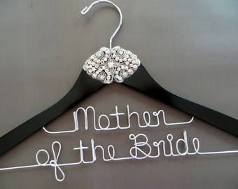 Mother of the Bride Hanger, Mother of the Groom Hanger, RHINESTONE Hanger, 2 Line Hanger, Crystal Wedding Hanger, Personalized Gift for Mom