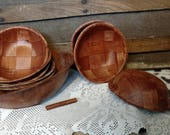 Retro Wood Salad Serving Bowl set of 9 - Vintage Brown Bowl, 60's Kitchen Ware, Mid Century, Summer Salads, Party of 8, Wooden Serving Bowls