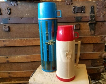 Vintage Thermos Set - Two Retro Drink Coolers, Portable Warm Soup Holder, Industrial Thermos Set Of Two, Portable Drink Carrier, Home Decor