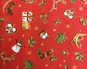 Makower 1663 Metallic Christmas in Red 100% cotton fabric by the half metre