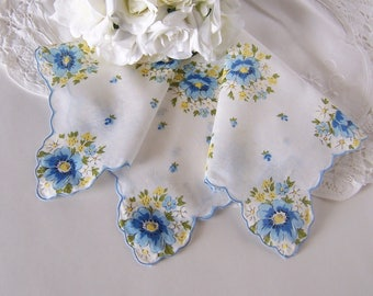 Wedding Handkerchief for a Bride, Vintage Hanky Something Old and Something Blue - Shower Gift, Mother of the Bride Gift, for Happy Tears