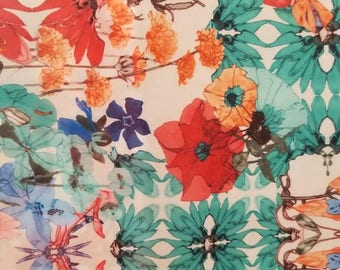 Watercolor Print 4-Way Stretch Fabric by the yard